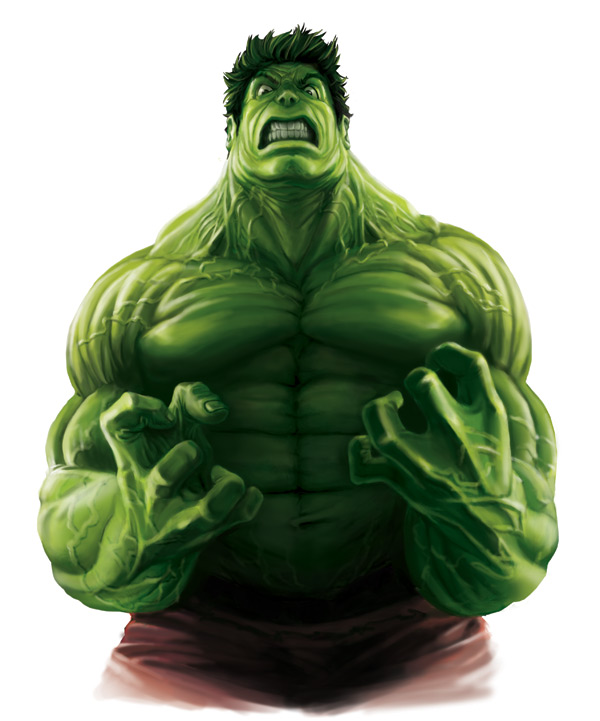 Marvel Comic's Incredible Hulk having a complete raging fit.